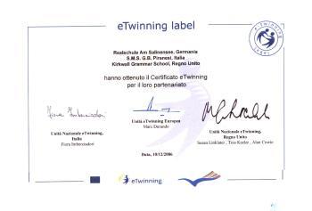 certificato eTwinning Media e Musica