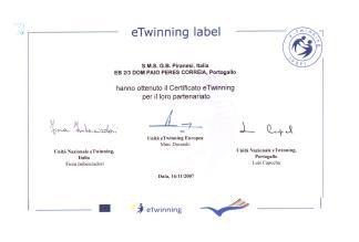 certificato eTwinning piazza Europa